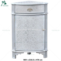 Silver Embossed One Drawer One Door Corner Cupboard