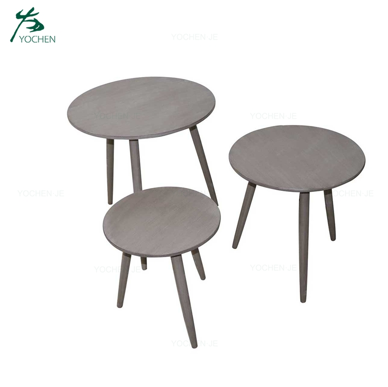 Modern wood end side table set of 3 nesting coffee tables
