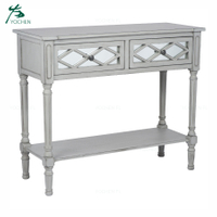 Modern gray wooden carving mirror decoration table