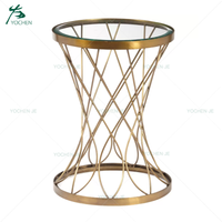 Coffee shop furniture metal gold coffee table end table side table