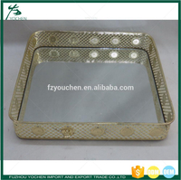 Retangular Gold Candle Tray Tea Light Holder Mirrored Display Stand