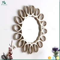 Resin material living room sun shape decorative wall mirror