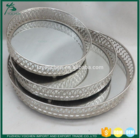 Silver Effect Mirror Tealight Candle Tray Plate
