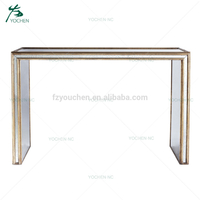 Living room furniture gold leaf mirrored antique console table