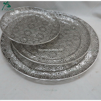 Round Silver Color Tray Open Floral Pattern Metal