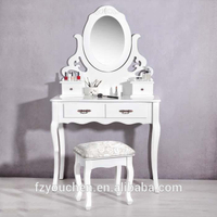 French Style White Vanity Solid Wood Dresser with 4 Drawers