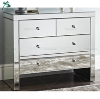 Silver Mirrored 4 Drawer Chest Table Console Silver Mirrored Furniture