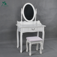Modern White Simple Dressing Table with Mirror and Stool