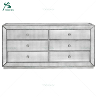 Brushed Antique Silver Mirrored 6 Drawer Low Dresser