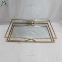 Rectangular Framed Metal Gold Galvanizing Wedding Decor Mirrored Top Tray