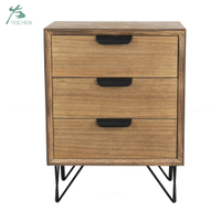 solid wood metal legs wood furniture 3 drawer wooden cabinet