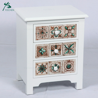 white furniture antiqued wood storage cabinet with colorful drawer