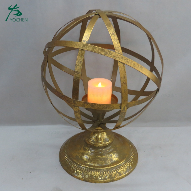 Handmade antique white metal candle holder