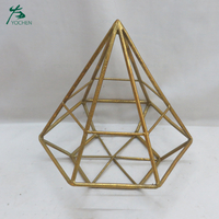 Gold Metal Geometric Design Tealight Holder Candlestick