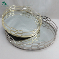 Table decoration gold plated mirror tray sets