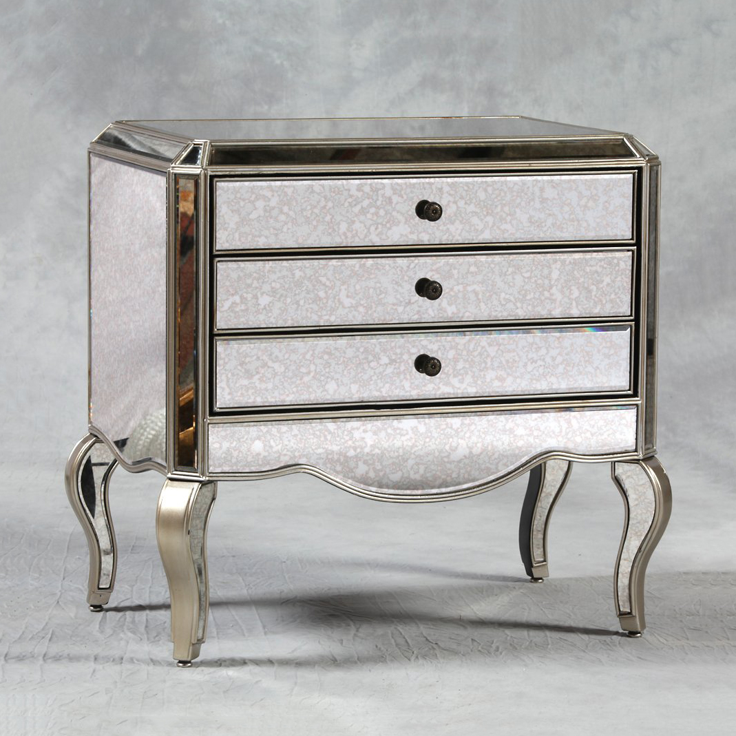 classic bedroom furniture mirrored bedside table