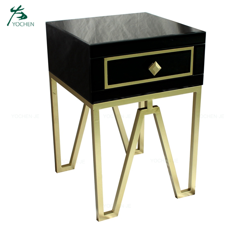 One Drawer Metal Legs Bedside Table Black Mirrored Nightstand