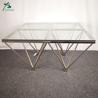 Living room shining silver stainless steel antique furniture corner table
