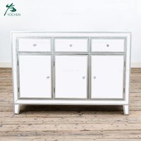 Silver Mirrored Large Cabinet 3 Drawer Mirrored Dresser Sideboard