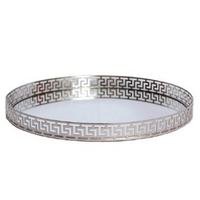 18 Inches Silver Mirror Tray with Greek Key Design