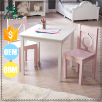 White and Pink Wood MDF Child Table Chairs Set
