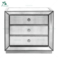 Brushed Antique Silver Paint Mirrored 3 Chest of Drawers