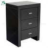 Black Glass Three Slim Drawers Mirrored Night Table