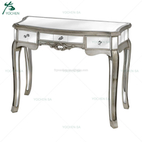 Antique French Style 1 Drawer Wood Mirrored Console Table