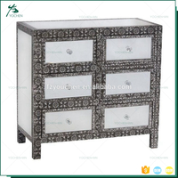 Sparkly Crushed Diamond 6 Storage Drawers Mirror Modern Sideboard