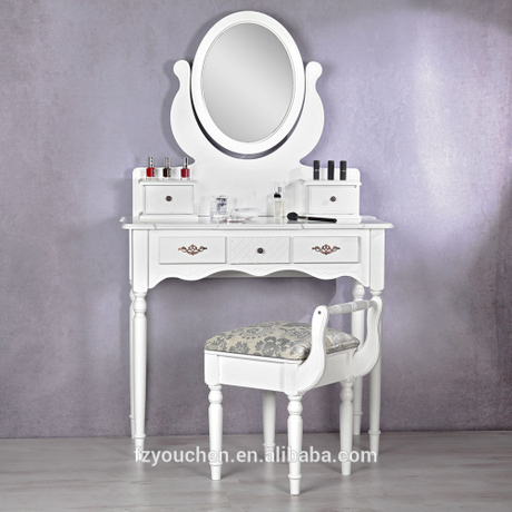 Five Drawers Modern White Wooden Dresser with Mirror