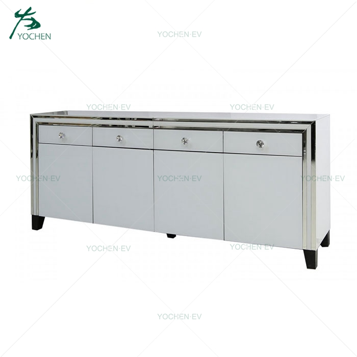 White Silver Glass Mirrored 4 Doors Buffet Sideboard
