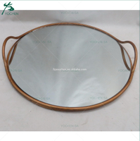 Simple Copper Metal Round Tray Mirrored Top Serving Tray
