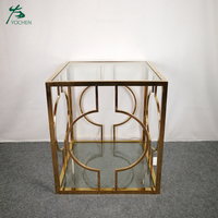 Stainless Steel Tempered Glass Side Table in Gold