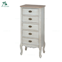 Classic design five drawer tallboy narrow chest of drawers