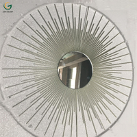 Shiny Champaign Gold Sunburst Shaped Decorative Metal Wall Mirror