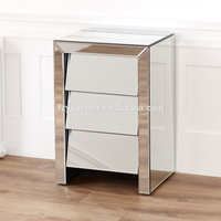 Bevelled Silver Glass Bedroom Furniture Modern Mirror Bedside Table