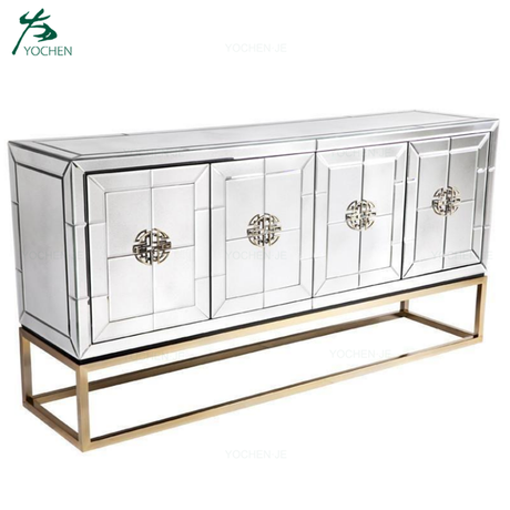 Antiqued brass base mirrored console table buffet cabinet