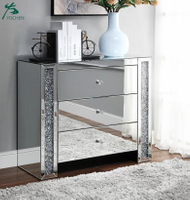 Large 3 Drawer Chest White Crushed Diamond Mirrored Bedroom Table Cabinet