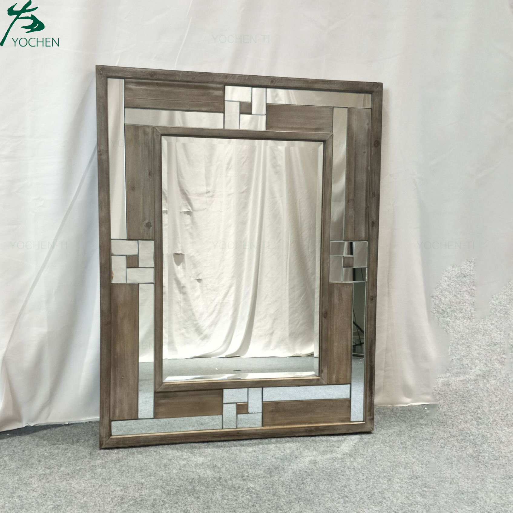 Home accessories rectangle antique wooden frame mirror