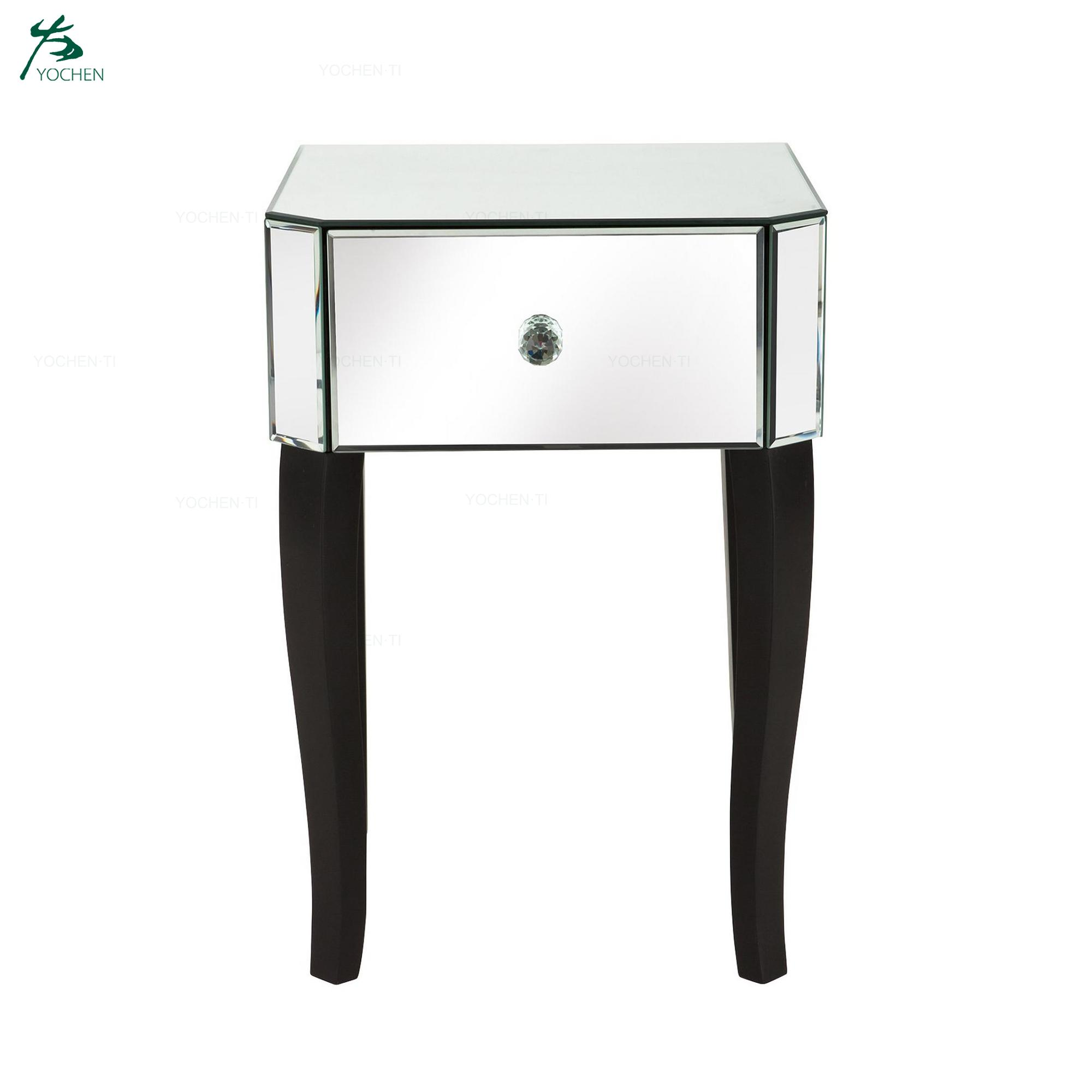 Home Furniture Mirrored 1-Drawer Bedside Cabinet