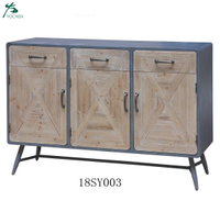 OEM customized low MOQ rustic style solid wood cabinet