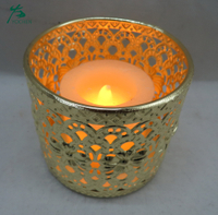 wholesale golden brass etched hot rotary metal christmas candle holder