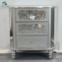 living room decorative silver antique mirror glass storage cabinet