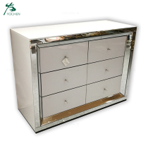 Living room white mirrored chest of drawers