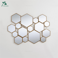Hexagon decorative metal frame wall mirror for living room