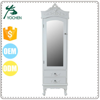 Top Quality big lot china wood wardrobe makeup cabinet with mirror