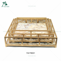 Decorative marble serving mirror metal tray