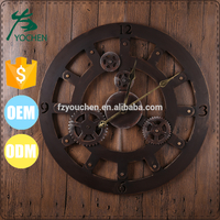 Industrial Gear Design Metal Roman Clock for Wall Decors