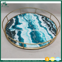Faux Marble Metal Round Tray Candle Plate