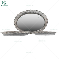 Oval Shaped Silver Mirrored Top Metal Candle Plated Candle Tray